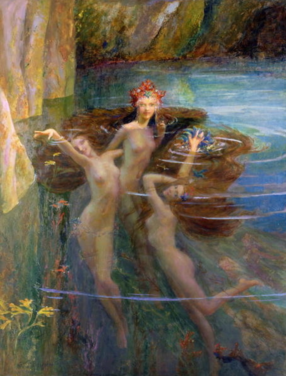 """""""Water Nymphs"""" by Gaston Bussiere, 1927"""