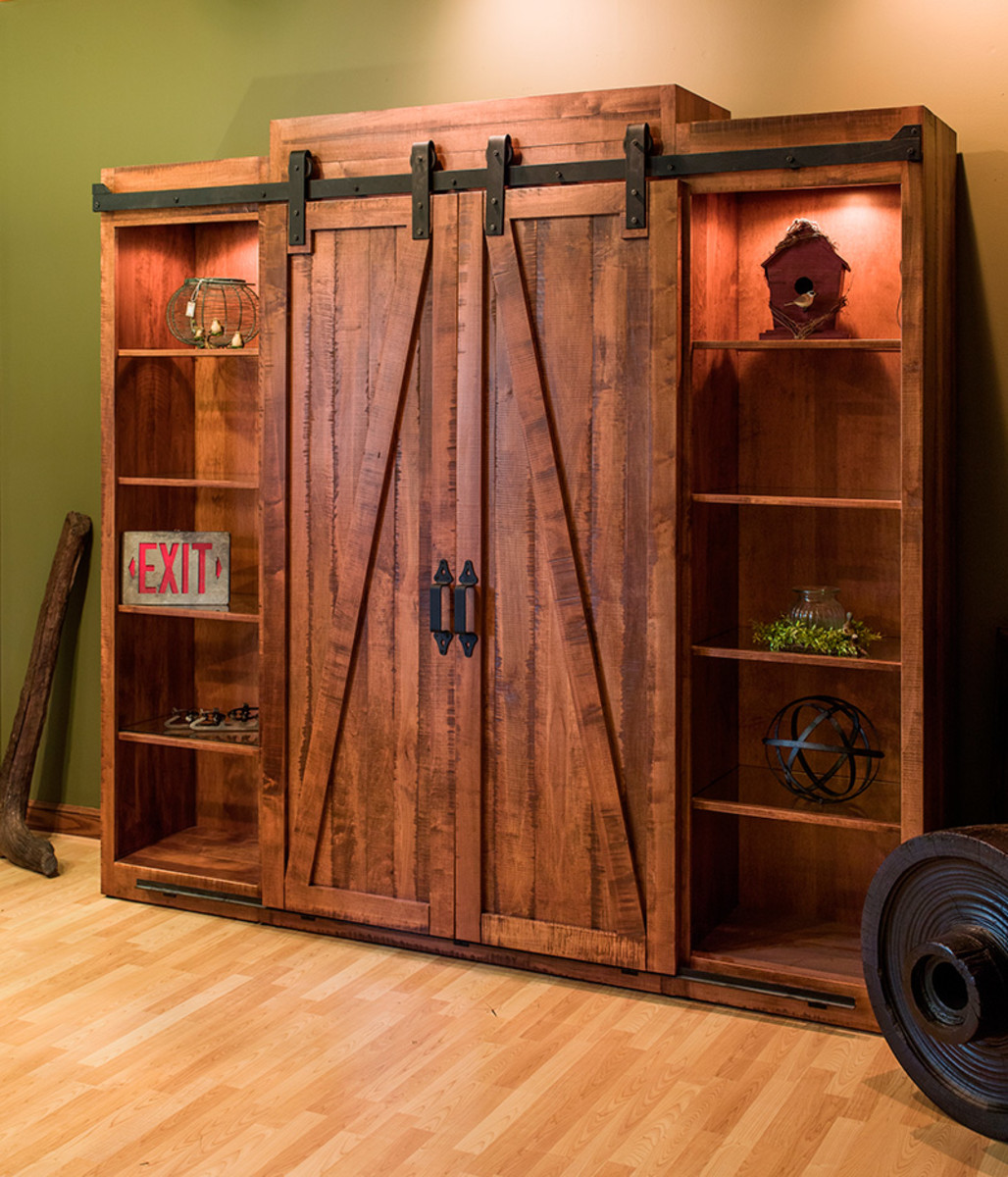 Example of using the barn door system on an entertainment center.