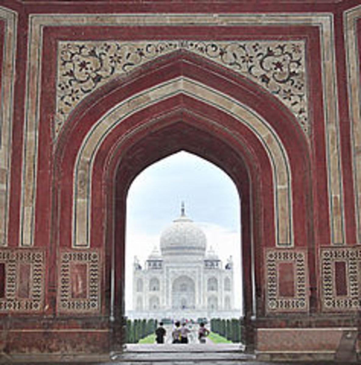View of Taj Mahal Through the Entrance