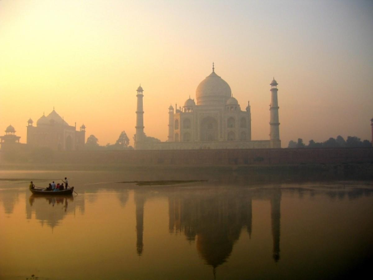 Taj Mahal Reflection on Yamuna River