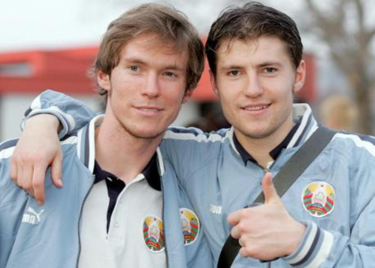 Brothers Aliaksandr (L) and Viačaslaŭ Hleb were vital players in helping Belarus reach the 2004 UEFA U-21 Championships. Their run helped spark a youth movement, culminating in the 2011 team reaching the 2012 Summer Olympics.