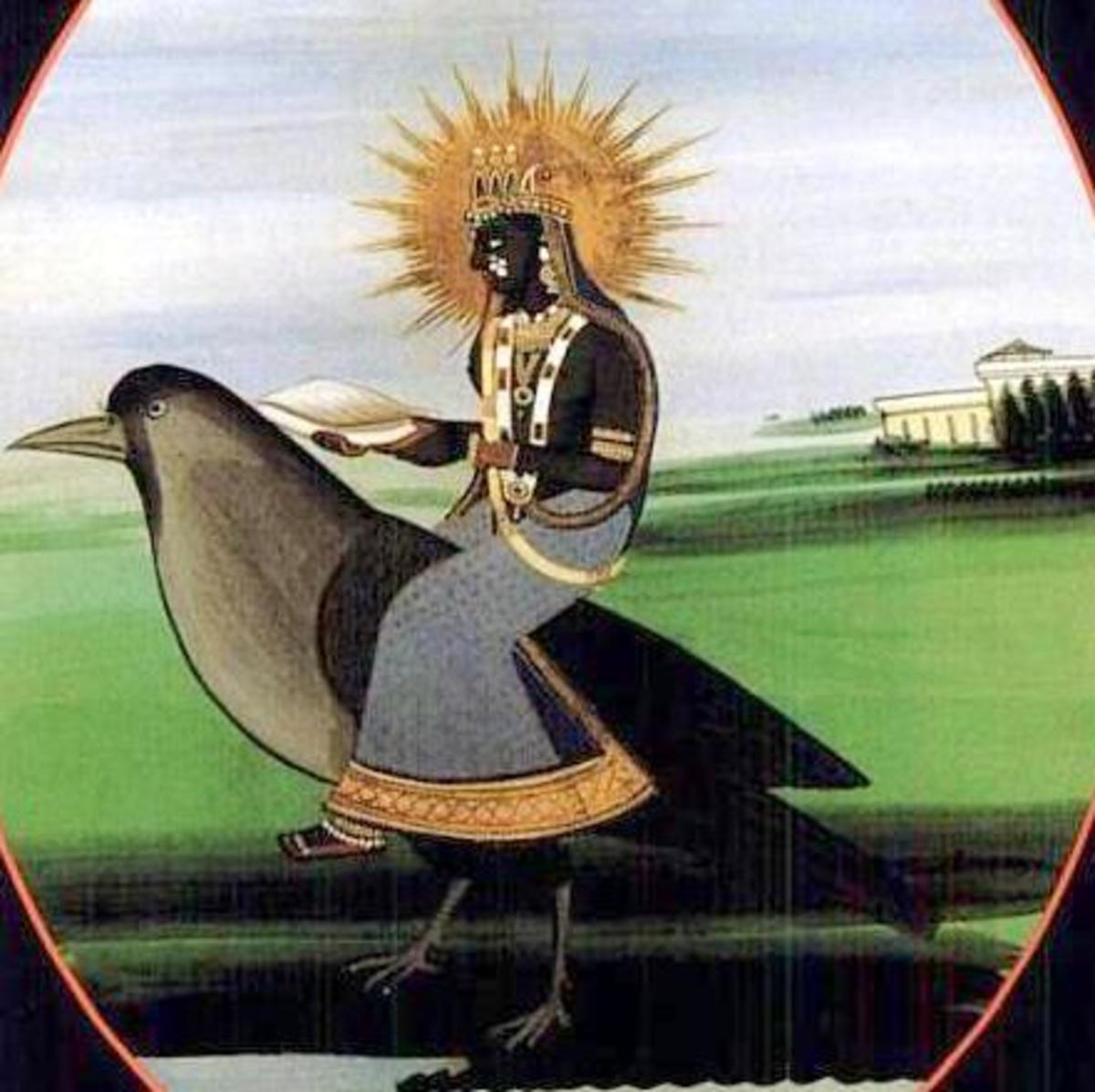 Goddess Dumavati riding a crow