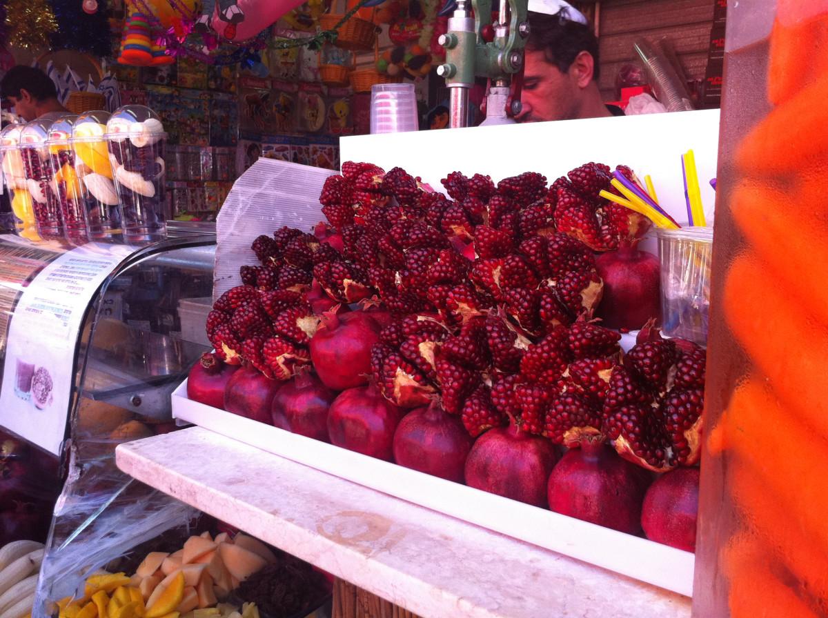Pomegranates in Carmel market