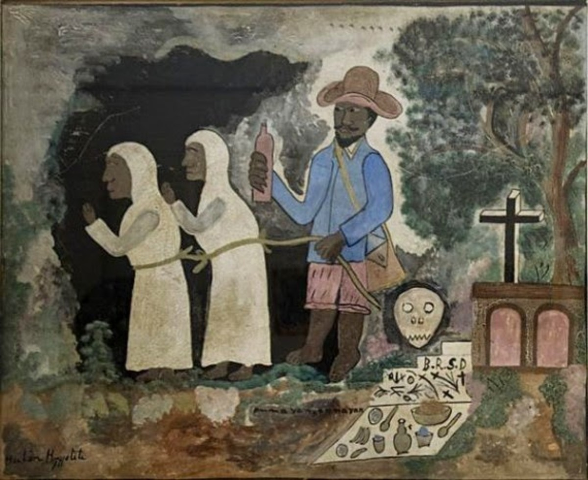 Haitian artwork depicting a bokor with two indentured zombie slaves.