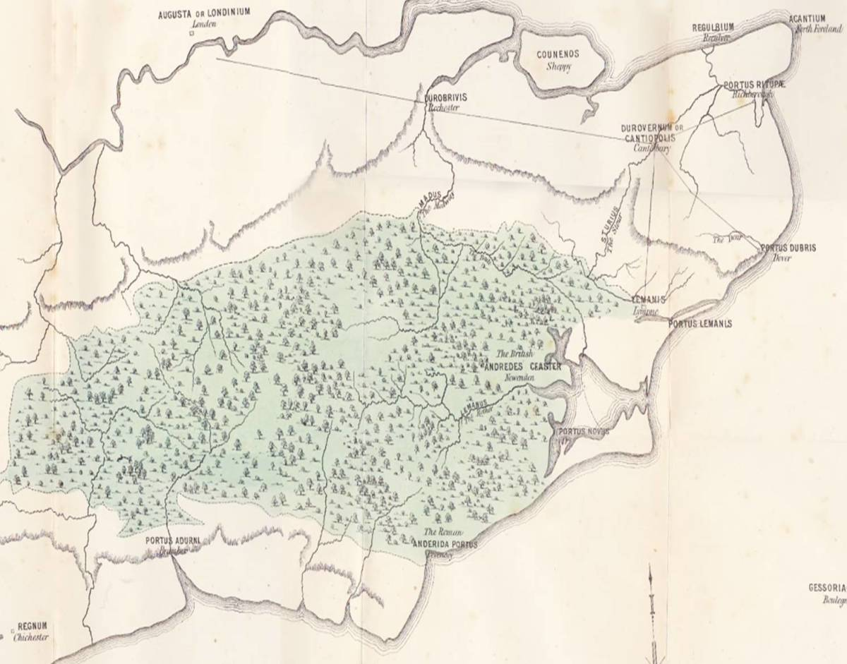 A segment of a map of Roman Britain, showing the 'Anderida' Forest, now known as the 'Weald'