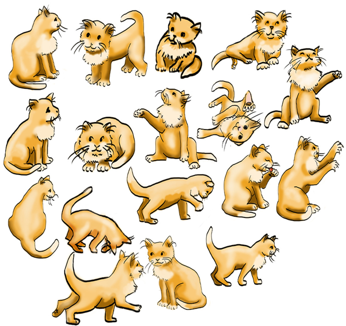 Character Sketches for cats.