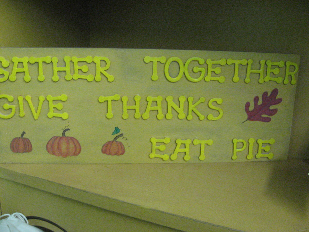On this Thanksgiving sign, I used foam letters.