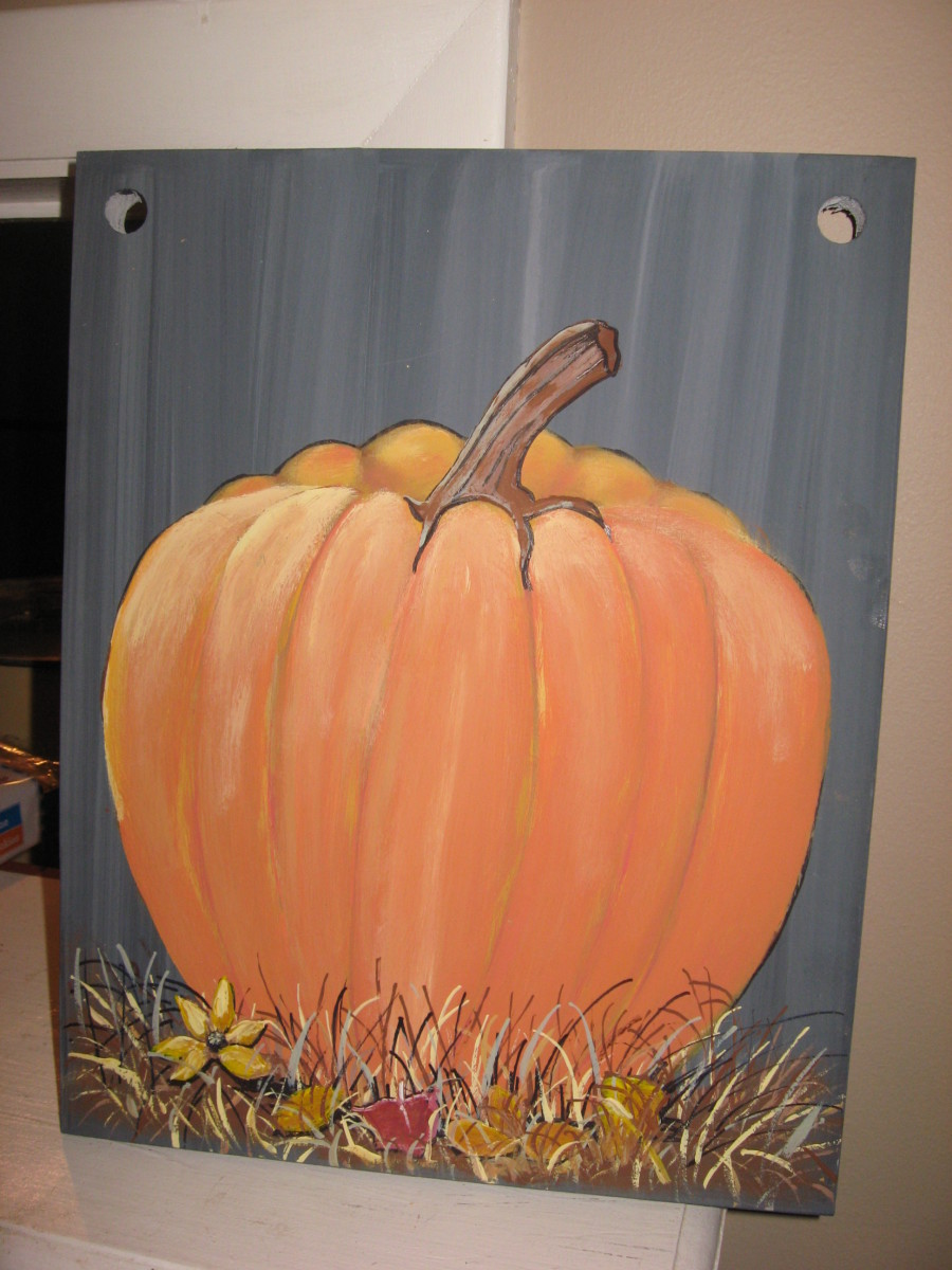 Painted Pumpkin on Barn Wood Plank