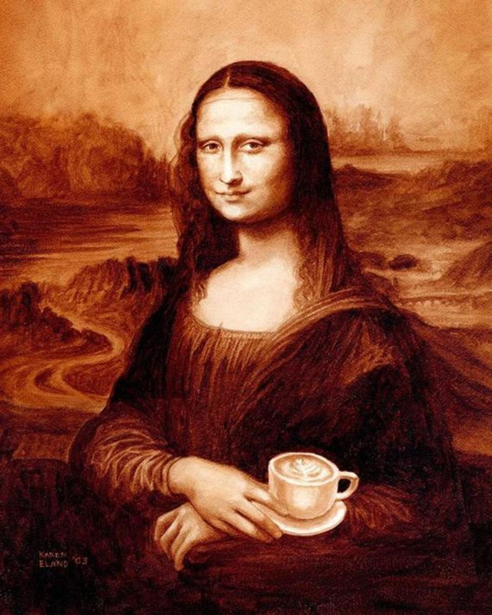 Mona Lisa with coffee