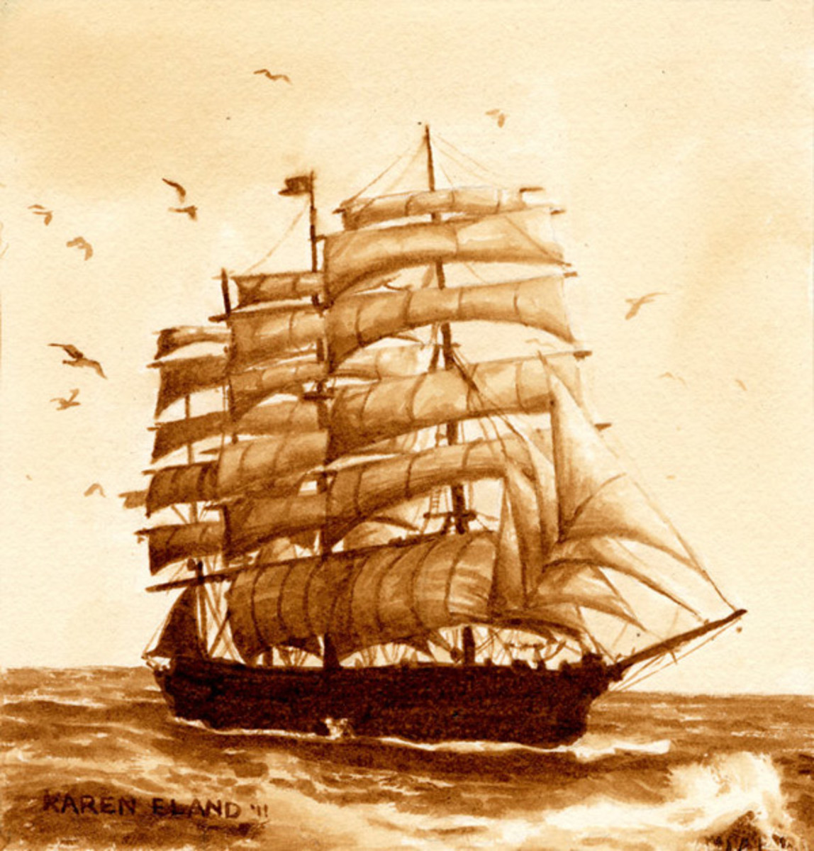 Ancient ship watercolor painting with coffee
