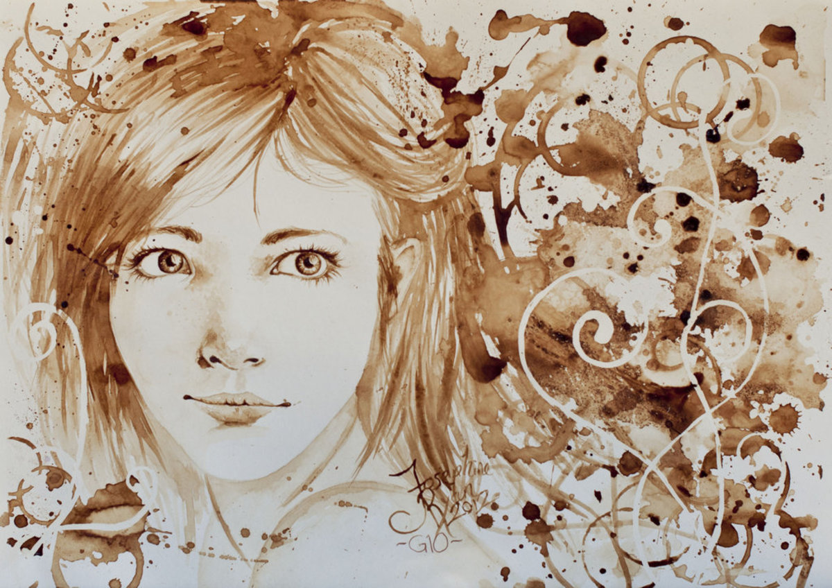 Portrait of a girl painted with coffee