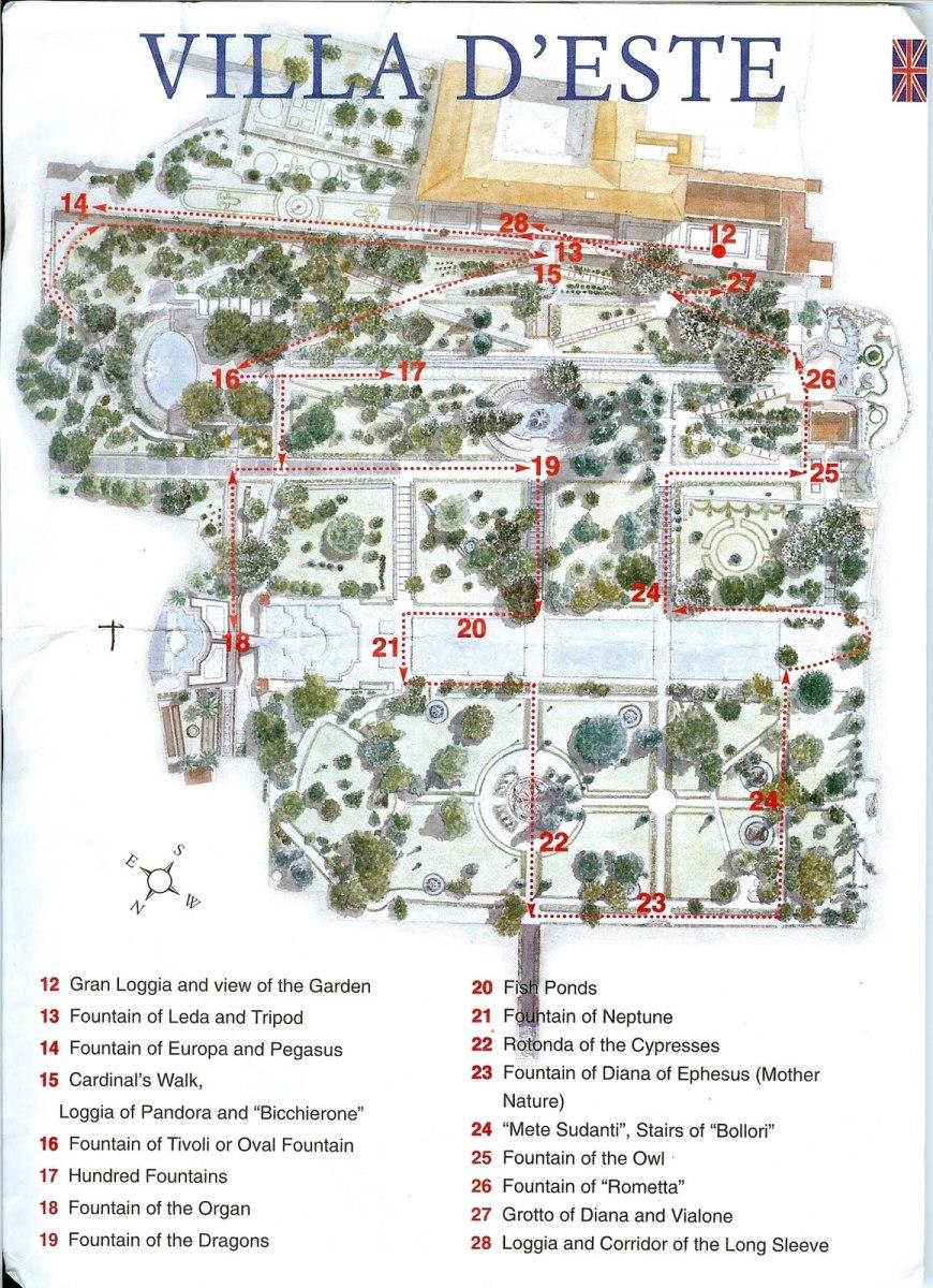 Map of Villa d'Este - Travel Italy
