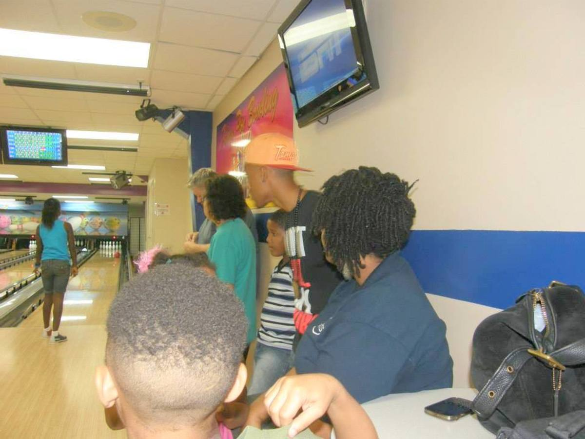At bowling with the family