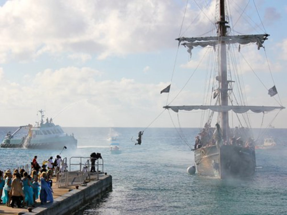 "The Governor of the Islands is ""forced"" to walk the plank. No harm done, though."