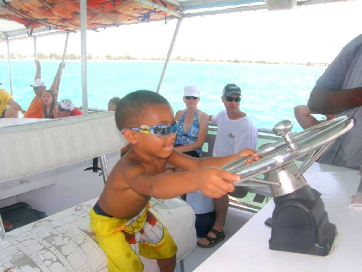 """Heading to Rum Point,  my youngest son had a chance to be """"Captain."""""""