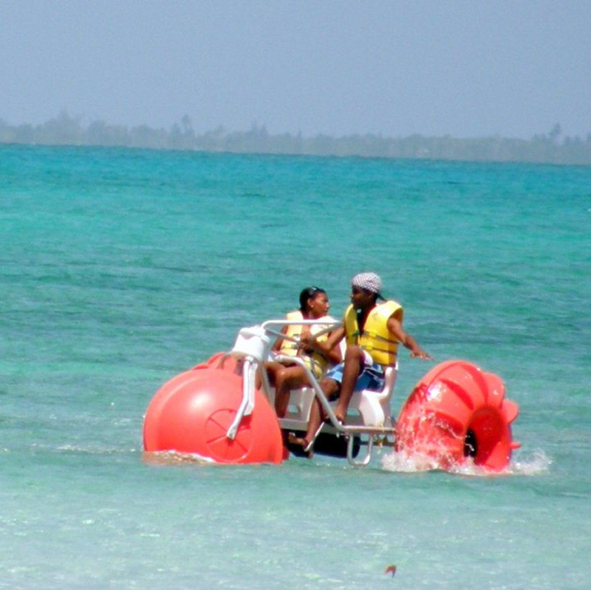 My older kids enjoying one of the many water sports offered at Rum Point/Cayman Kai