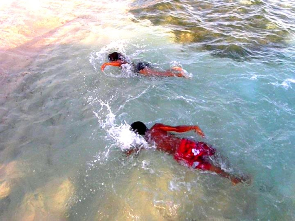 Swimming at Spott's Cemetery Beach