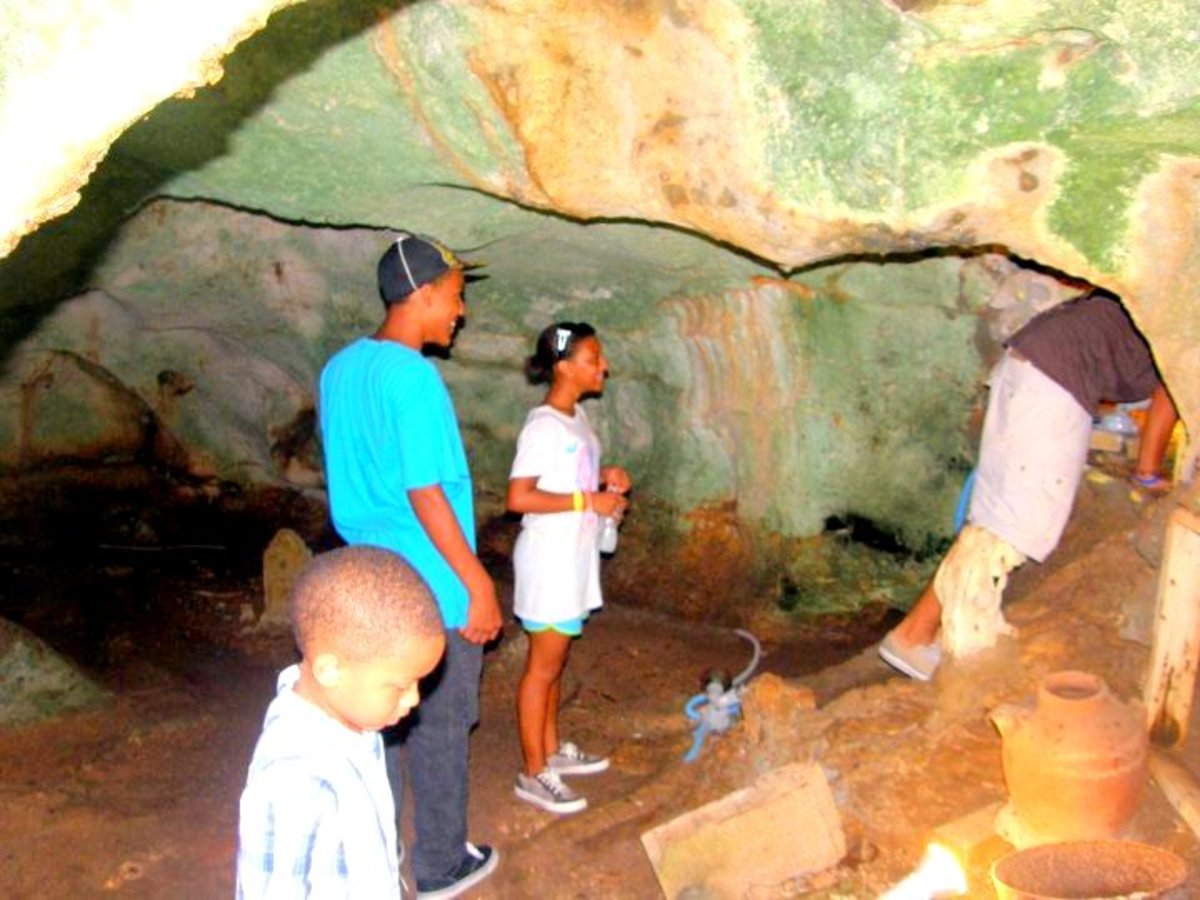 Inside the cave, we all looked around for the best tunnels to crawl through.