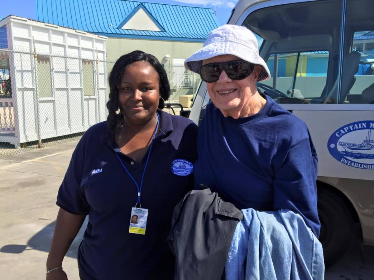 Former President Jimmy Carter visited the Stingrays with Capt. Marvin's recently. Crew was Glen, Derrin, Roy as the photographer, Charles (Marvin Jr) Anna and Ronnie.
