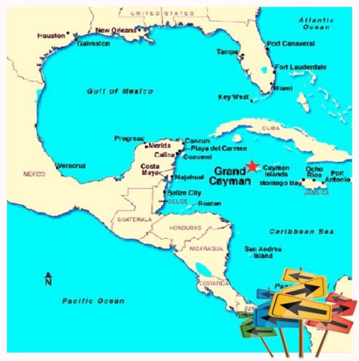 The Cayman Islands are located just south of Cuba.  It is just a short 1 1/4 hours flight from Miami International Airport.