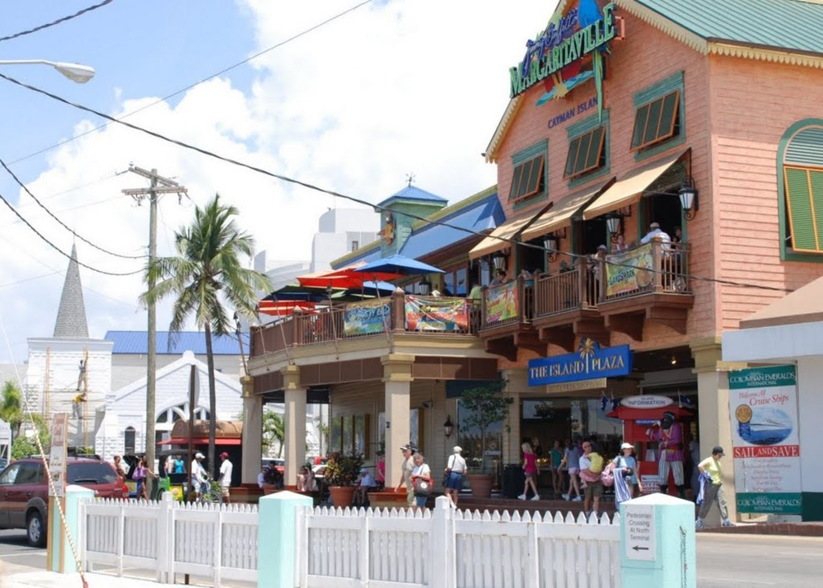 View of Margaritaville from the streets of George Town, the Capital