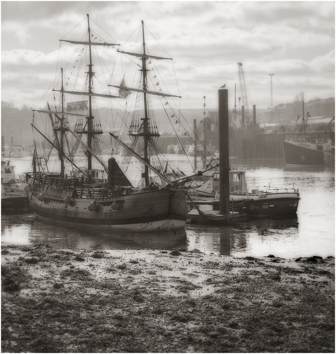Whitby Harbour in the 20th Century with another 'Cat'. Steam was overtaken by diesel,  Yet the 'romance' of sail lingers. Cook rounded the 'Horn' more than once when circumnavigating the globe