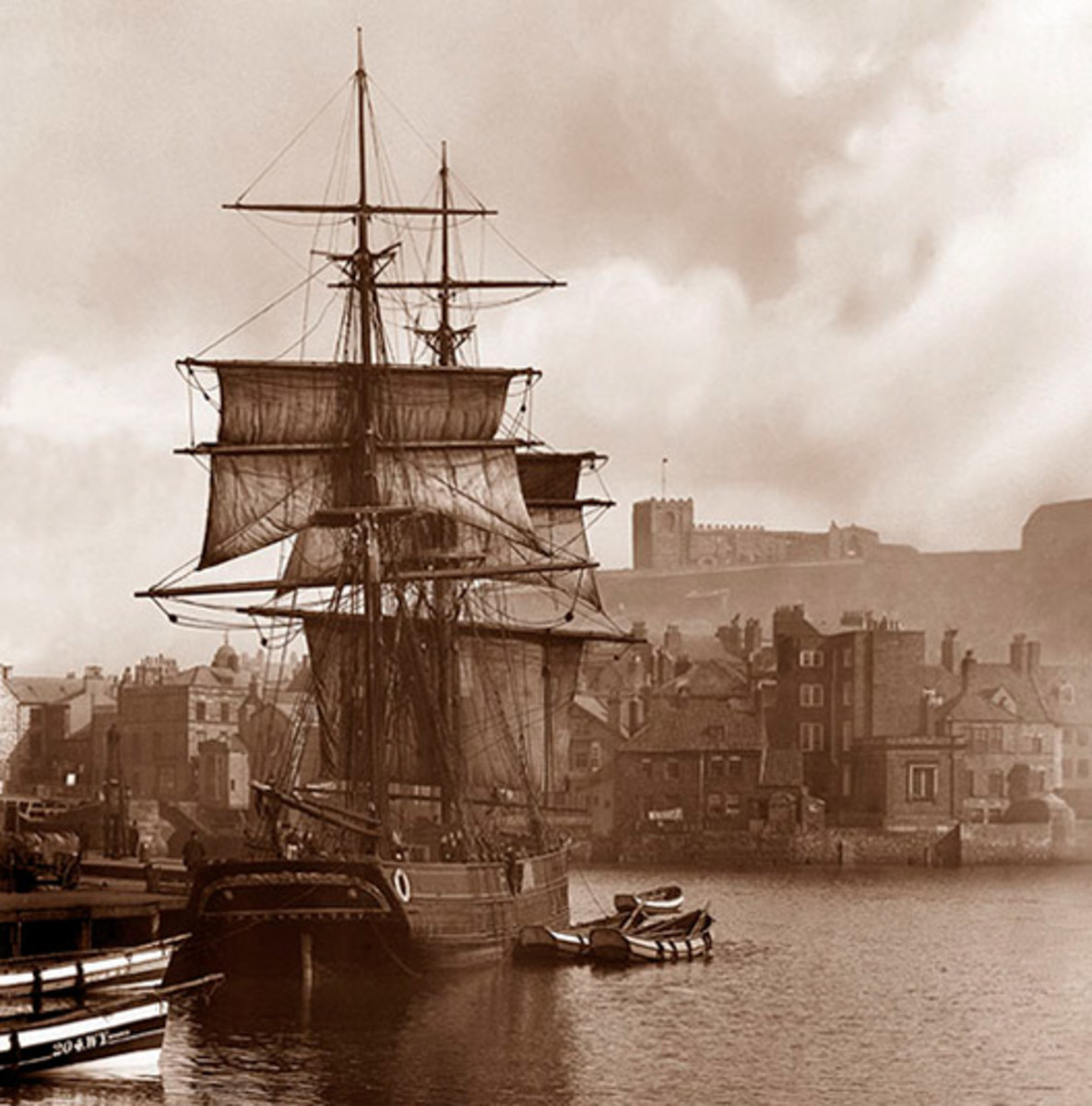 A Whitby 'Cat' cabled in Whitby Harbour at the turn of the 20th Century, taken by the well-known local photographer Frank Meadows Sutcliffe