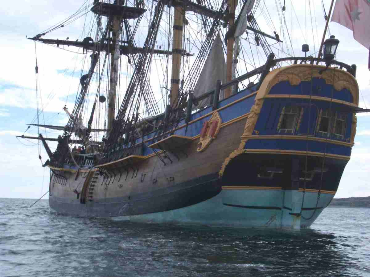 The full-size replica . 'ENDEAVOUR', Captain Cook's first ship was a Whitby Collier, or 'Cat', as suitable for inshore work due to its shallow draught as she was on the high seas across the Atlantic and around Cape Horn on her ocean-going debut