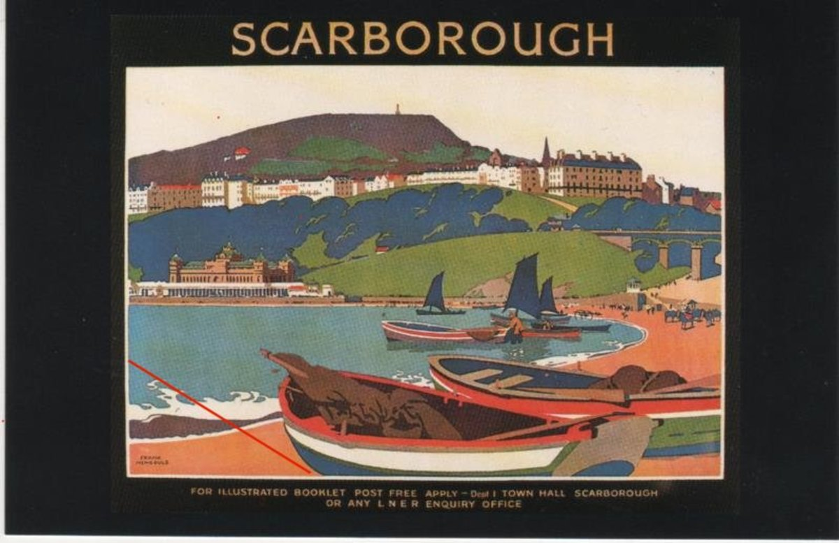 LNER railway poster shows Yorkshire cobles drawn up on the South Bay sands at Scarborough