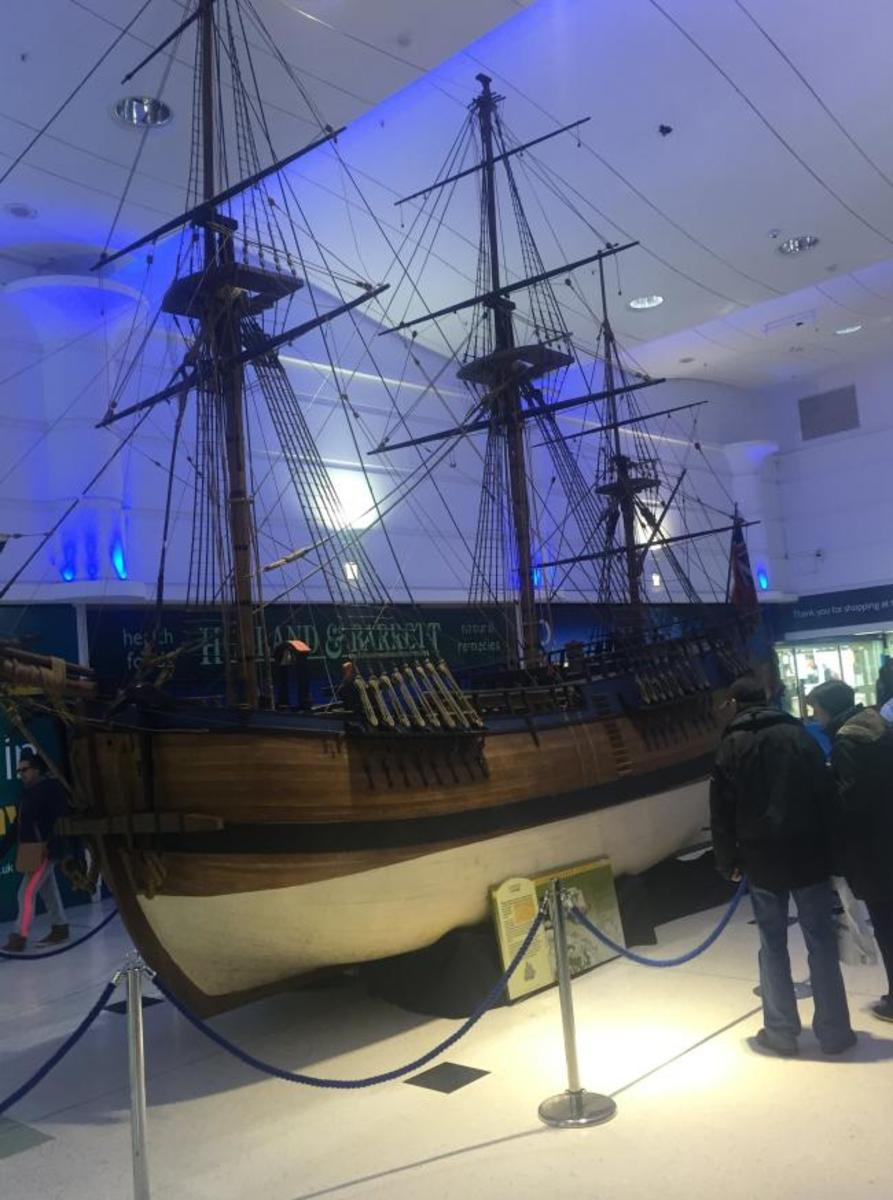 The completed replica, with masts and rigging being admired by visitors - wilol it be safe from vandalism?