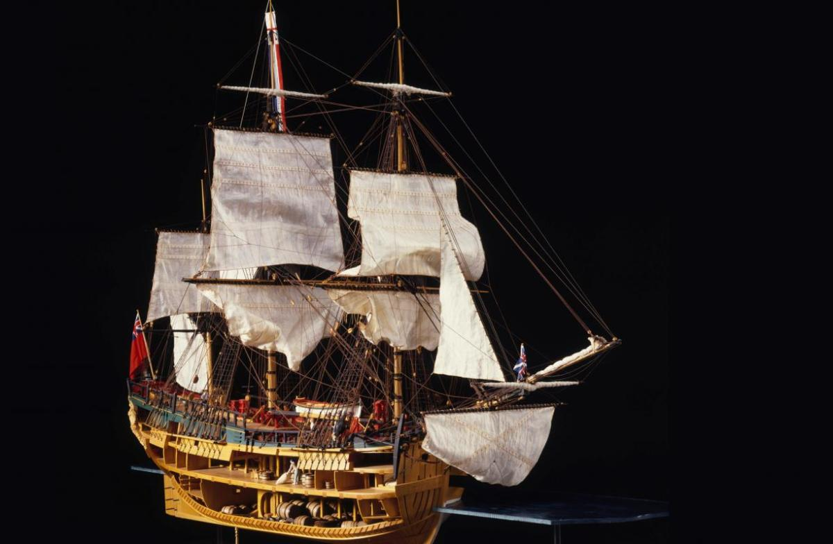 This cutaway model of HMS 'Endeavour' Bark is exhibited in the National Maritime Museum at Greenwich, London, and shows the below decks arrangement of stowage, crew and officers' accommodation
