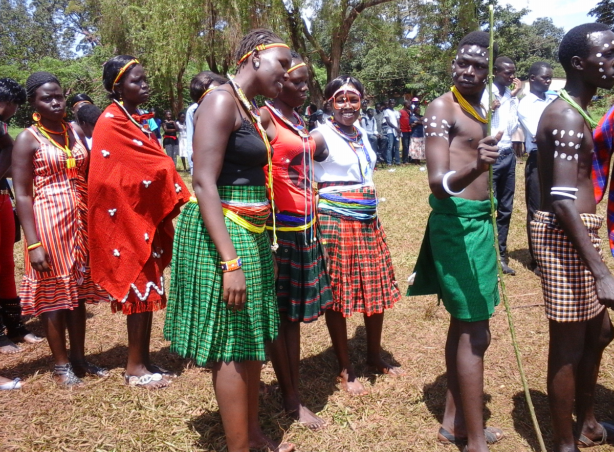 A group of people from Karamoja in Northern Uganda doning cultural outfits