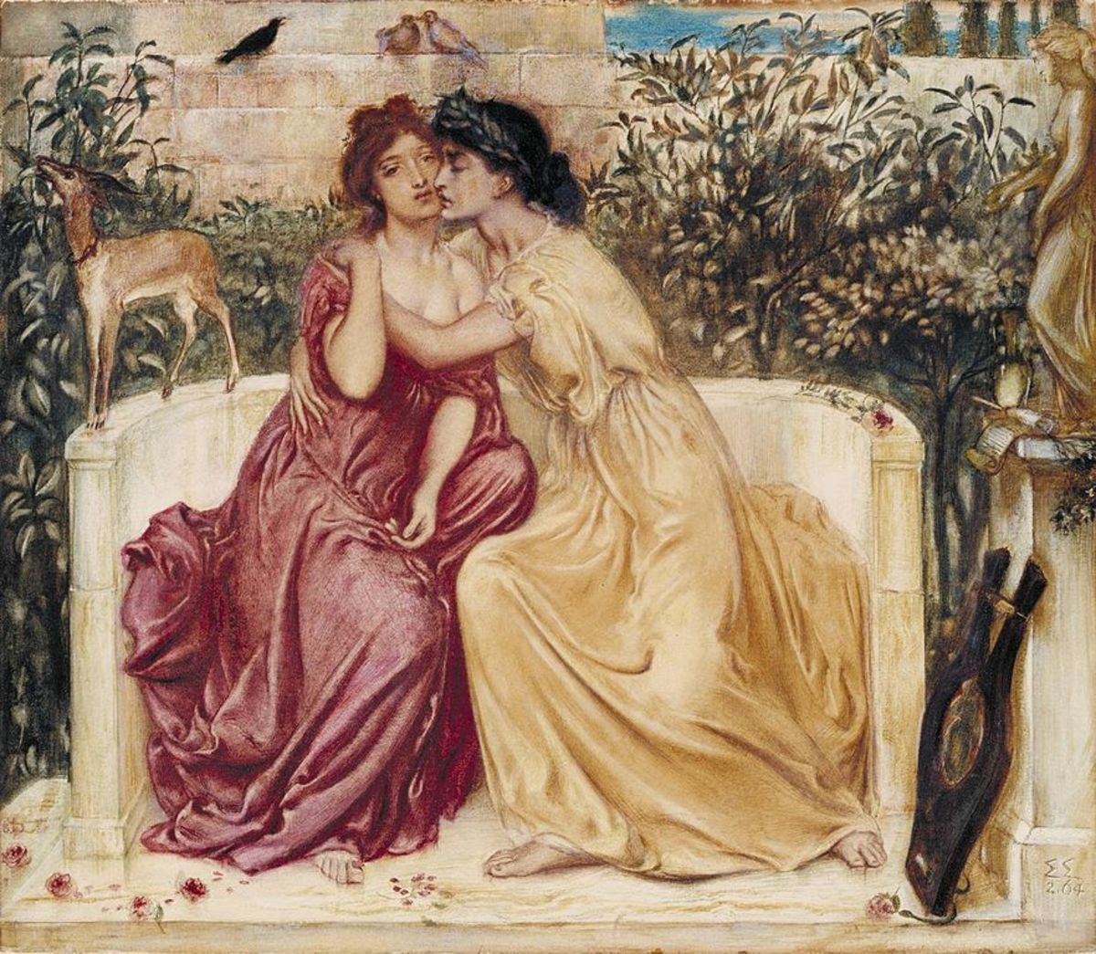 Sappho and Erinna in a Garden at Mytilene by Simeon Solomon