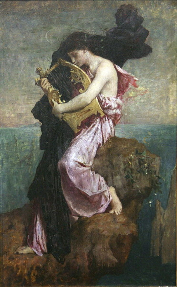 Sappho and her lyre by Jules Elie Delaunay (1828-1891).
