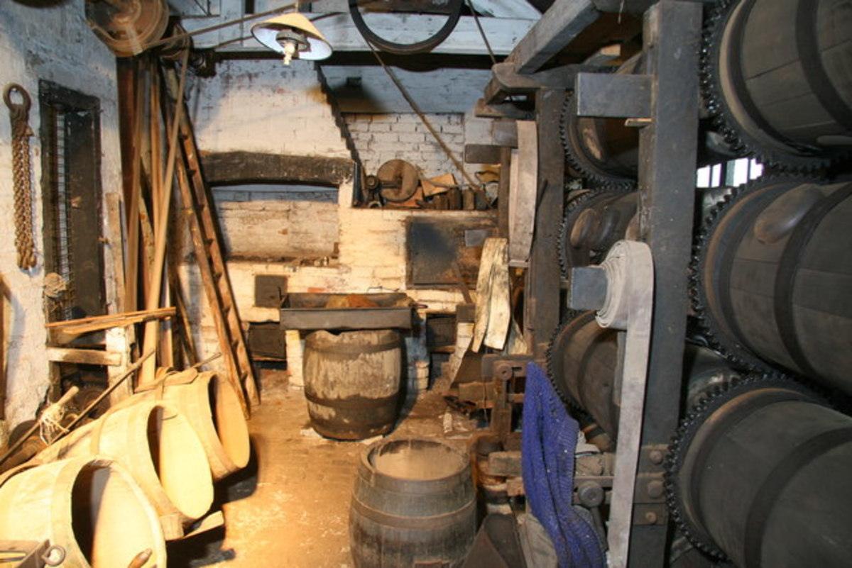The barrelling shop. this is where the needles were dried.  The needles were placed in the barrels with hot sawdust from the stove.The barrels revolved by using the waterwheel.