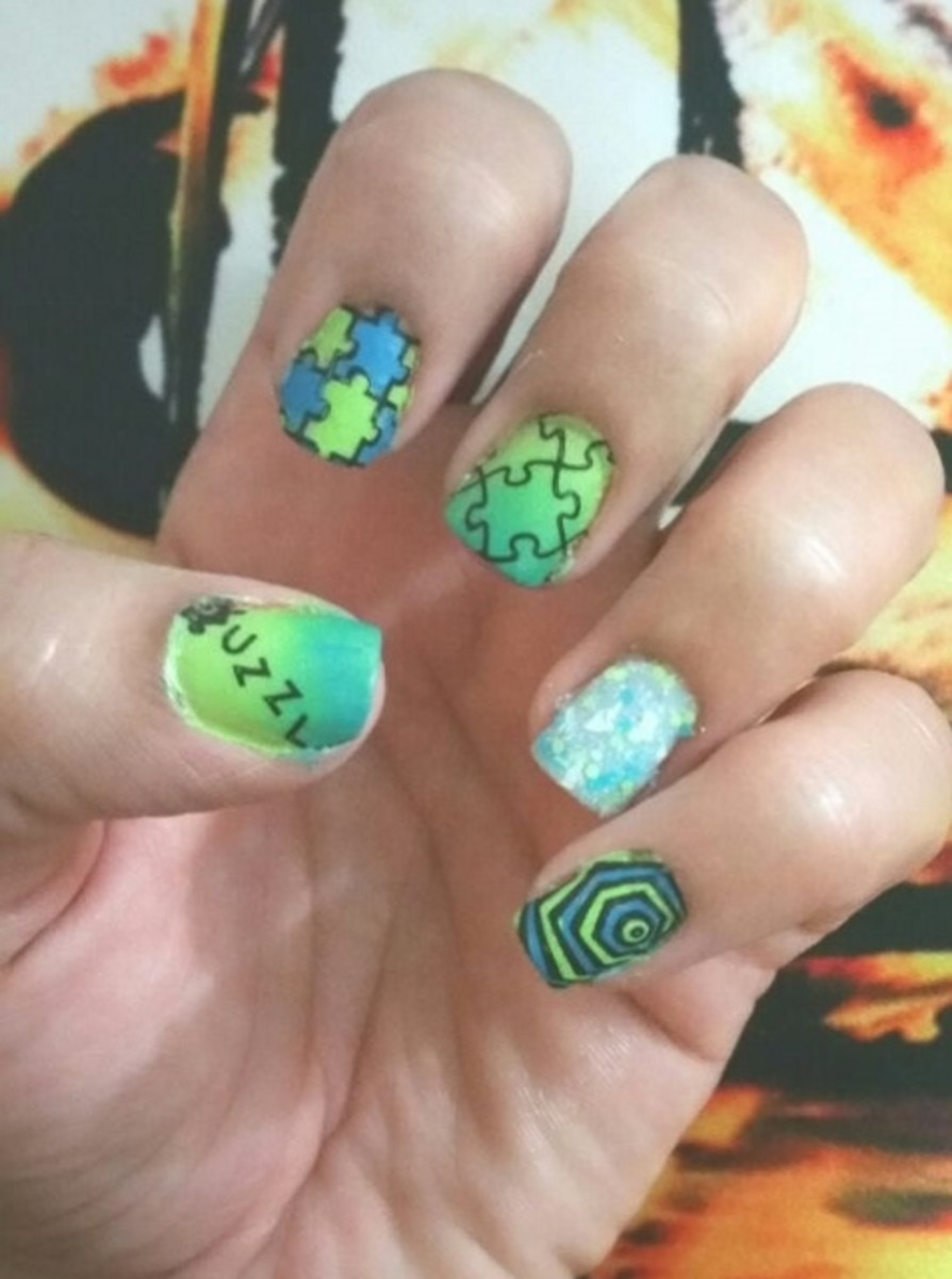 Blue Green Puzzle Nail Art with Moyou Puzzle Stamping Plate