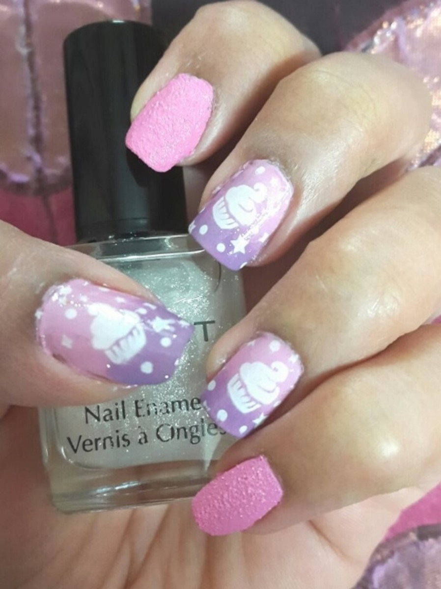 Pink Purple Ombre Stamping Nail Art