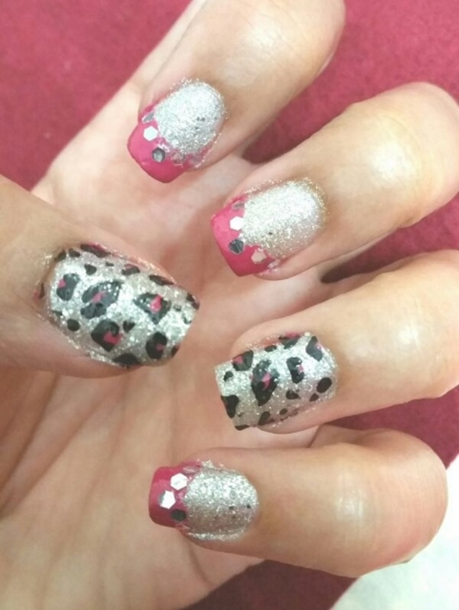 Animal Print with Pink French Manicure