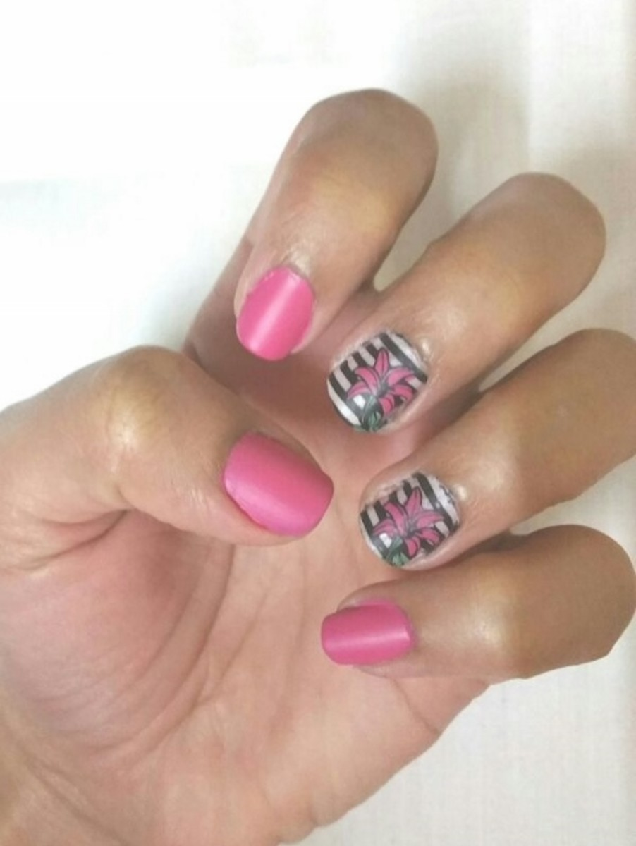 Pink Black Nail Art with Moyou Pro Stamping Plate