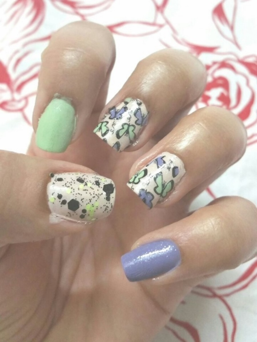 Green Blue Butterfly Nail Art