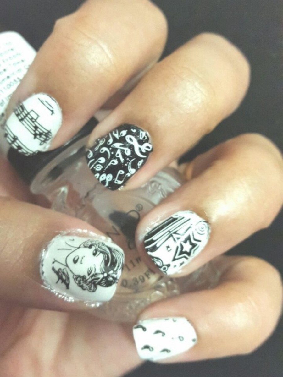 Black and White Nail Art with Moyou Rockstar Stamping Plate