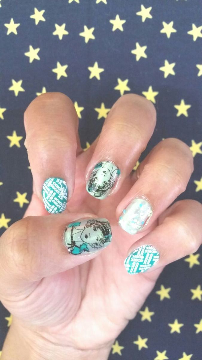 Green Metallic Nail Art with Rockstar Stamping Plate