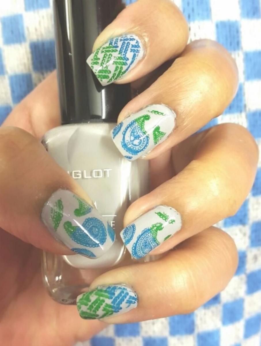 Blue Green Stamping Nail Art