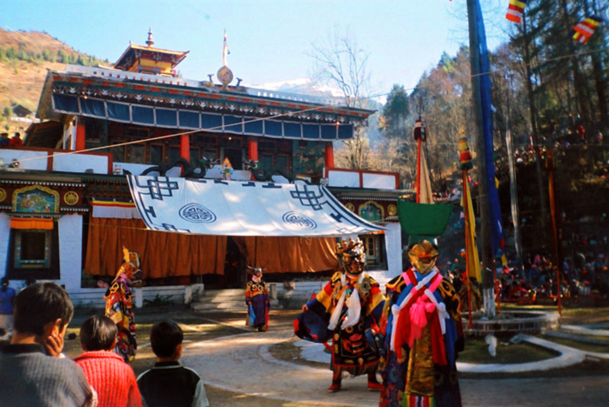 The Gumpa dance is a special dance celebrated around the time of Losar, the Tibetan New Year. Pictured here in Lachung monastery, North Sikkim, Sikkim, India.
