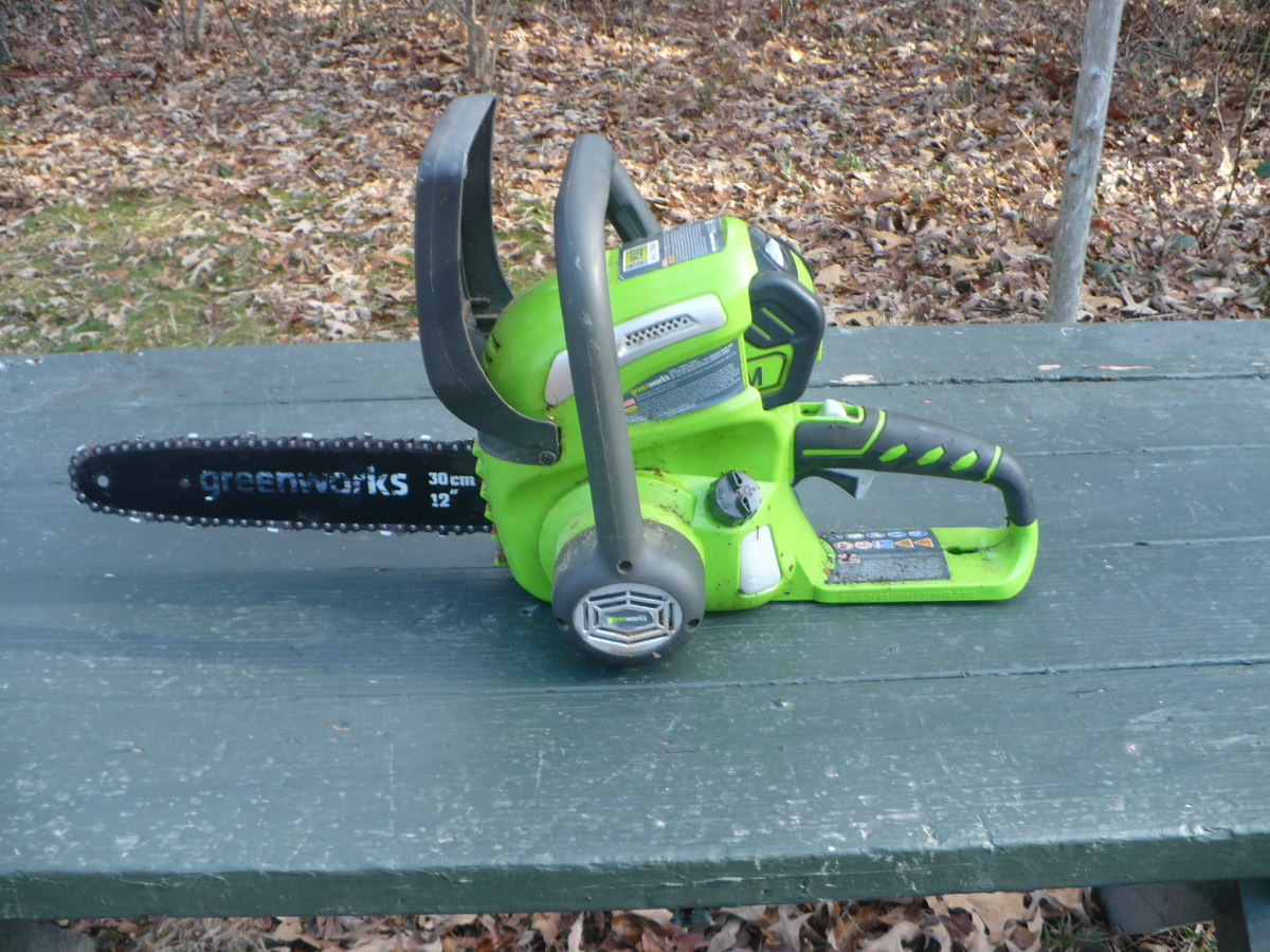 Our trusty little Greenworks saw