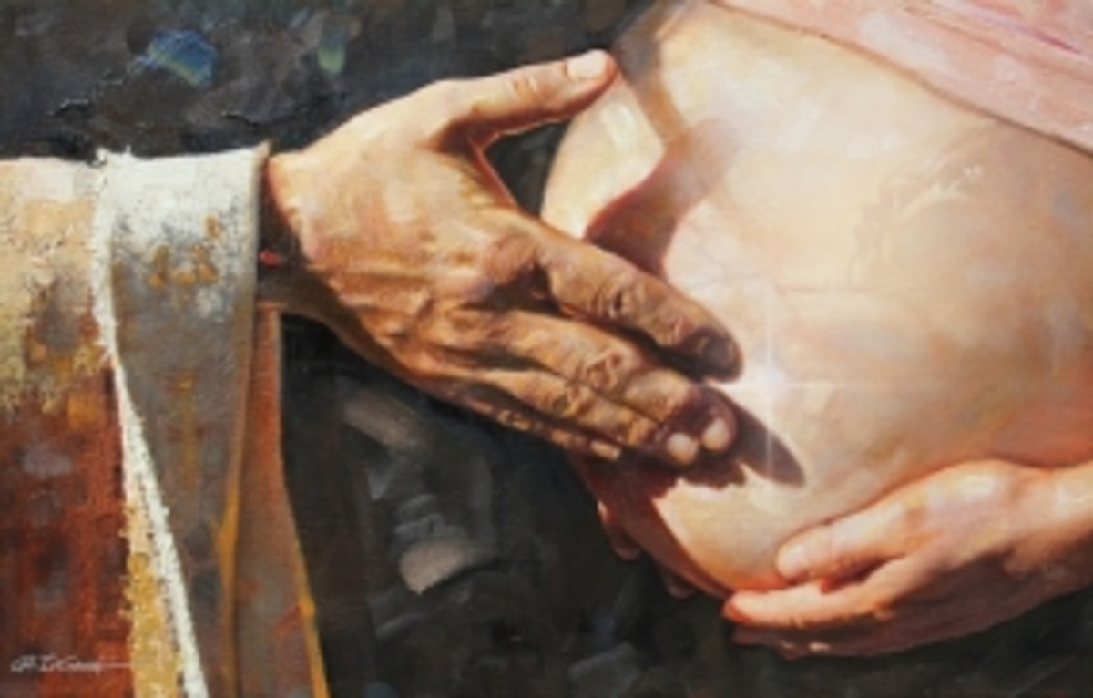 """Before I formed you in the womb."" By Ron DiCianni, renowned painter, who painted the above image. His mother saved his life and ran from the clinic after she heard God's voice telling her He has special plans for her son."