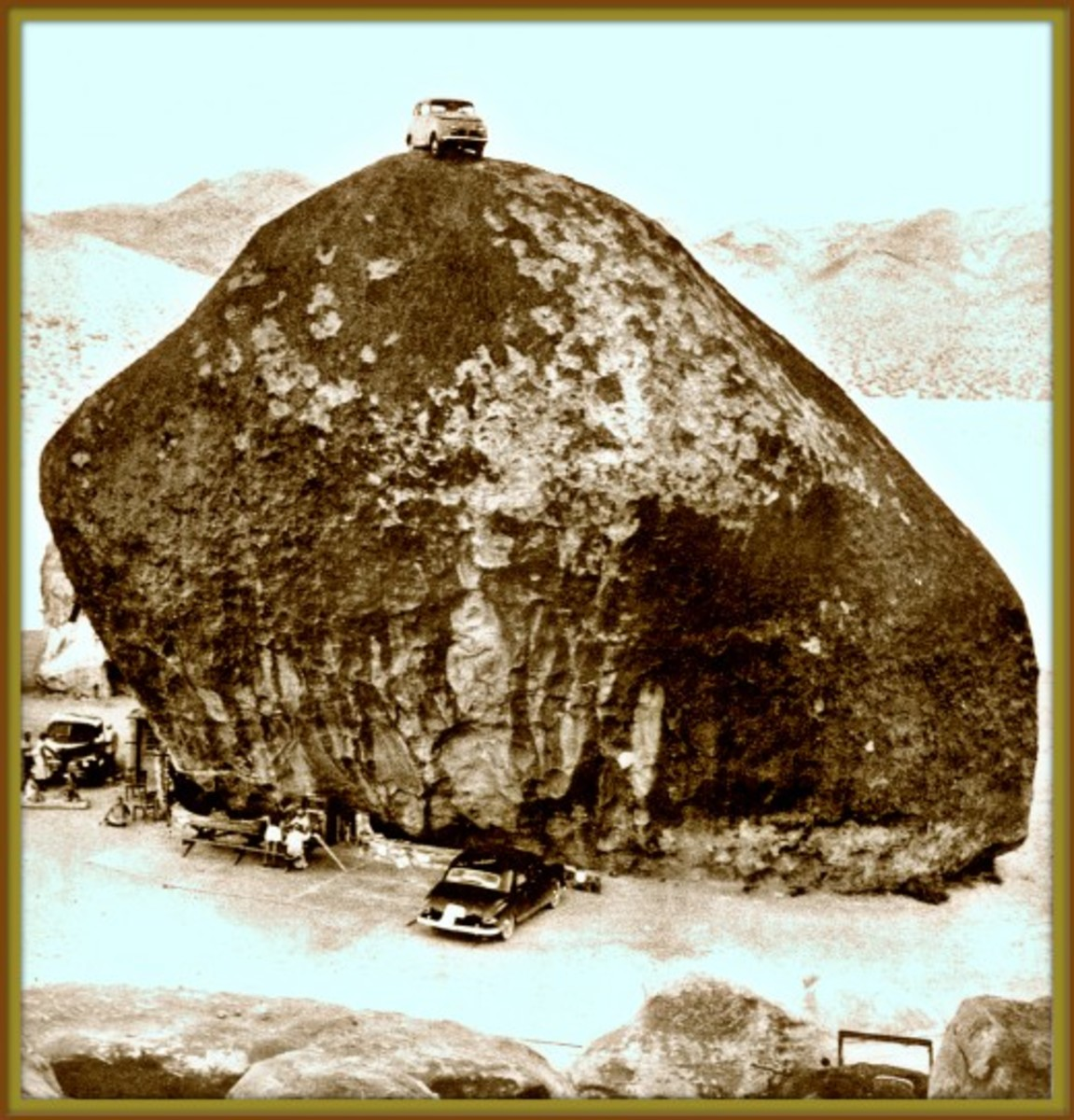 George became world famous for his amazing UFOs & Peace Conventions at the remarkable giant granite rock this photos if from 1957. This was the huge granite rock on top of the bunker that Frank Critzer died in 1942 from the explosion.