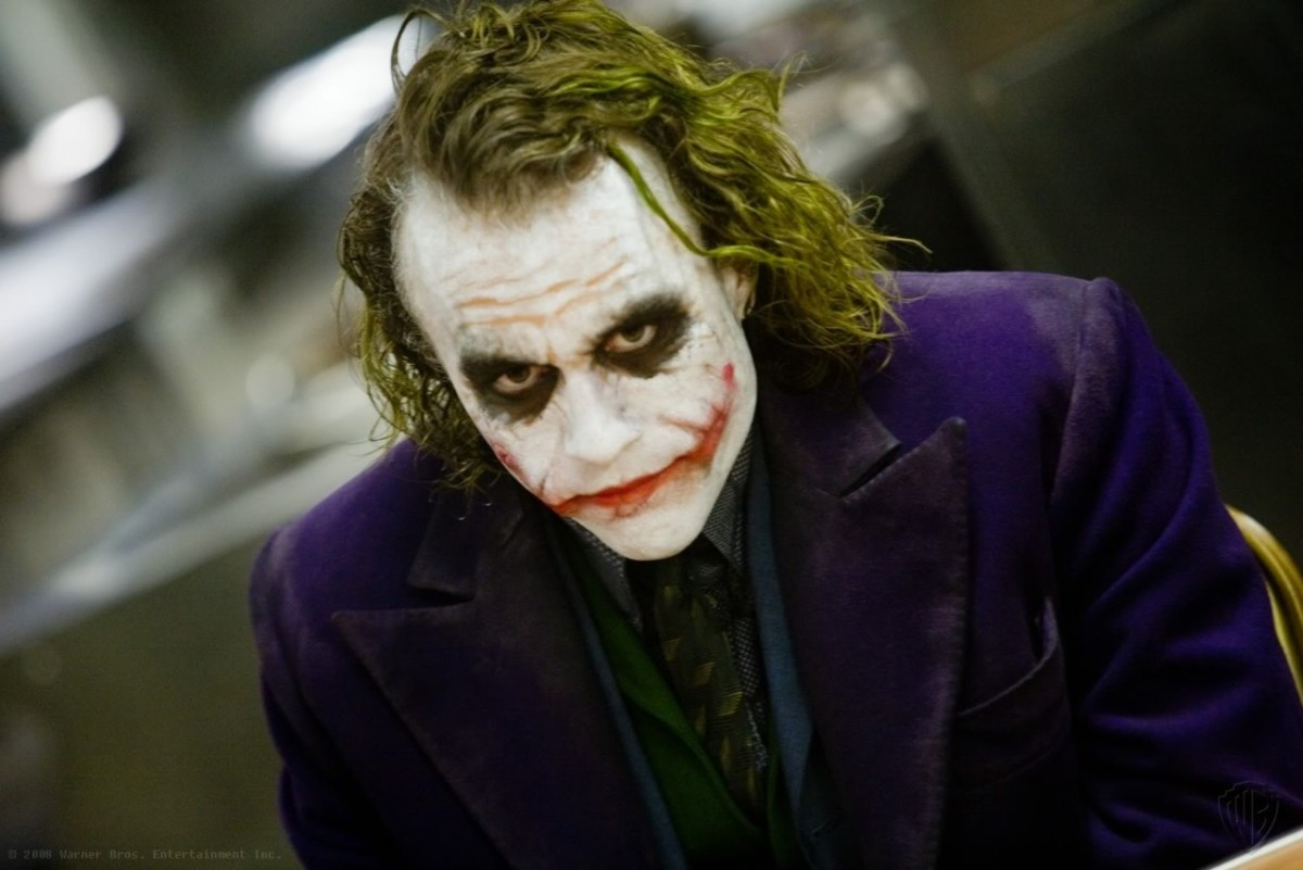 Heath Ledger and the iconic Joker face makeup we have all come to recognize