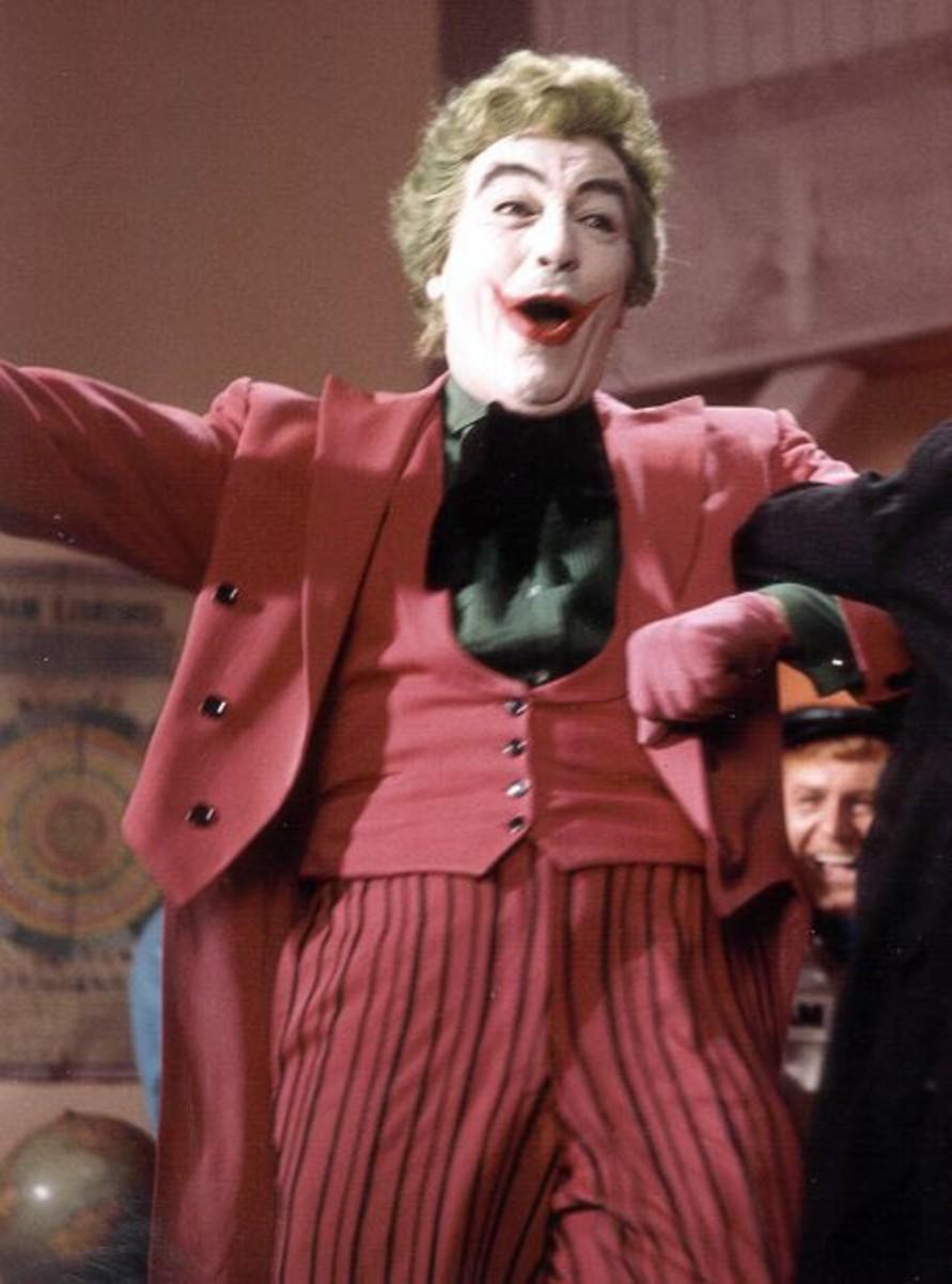 Cesar Romero dressed as The Joker for the Batman TV show filmed in the 1960's.