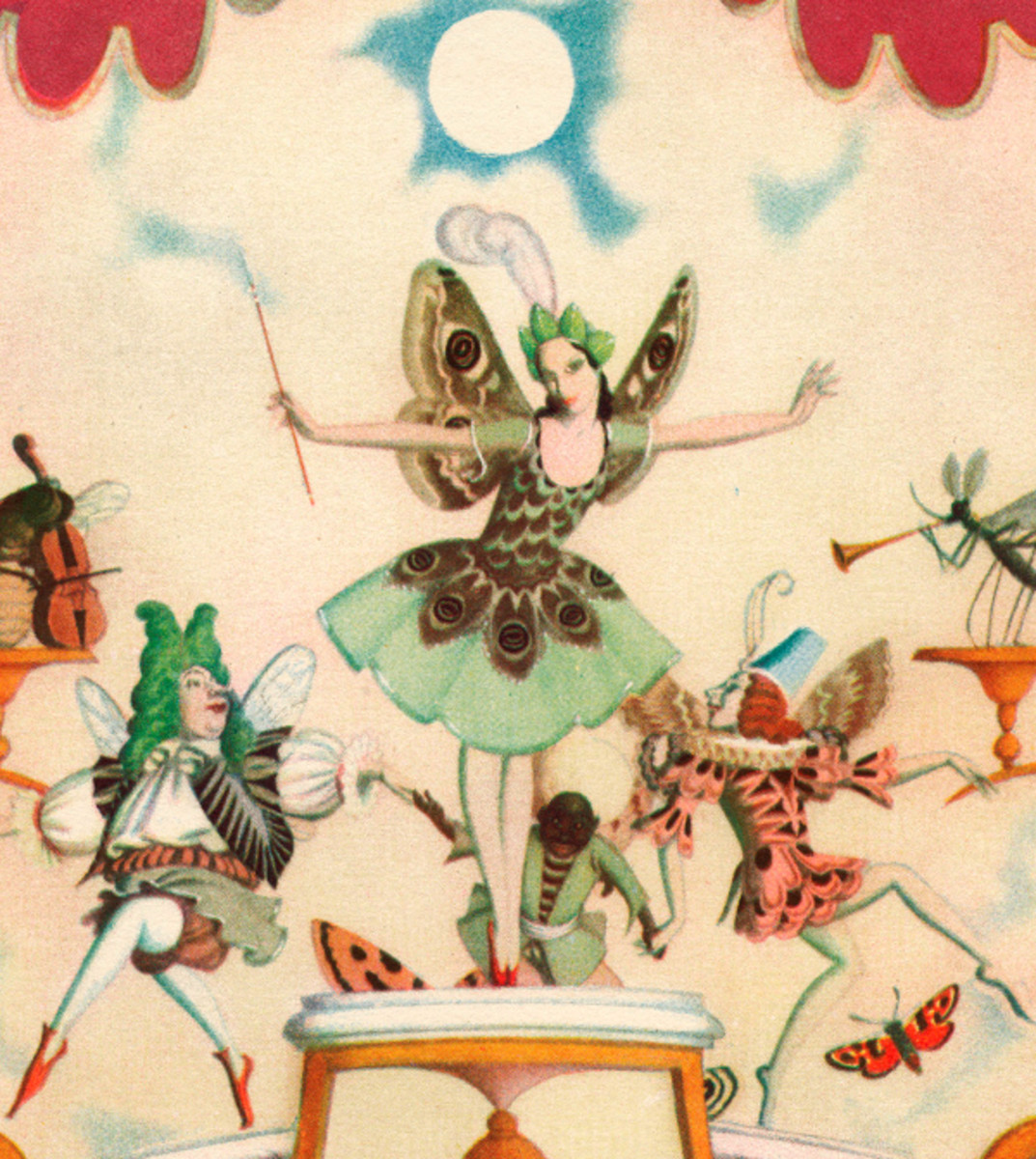 "Here we show a portion of 'The Fairy Song' - it is from the suite by Edmund Dulac published in ""A Fairy Garland"" (1928)."